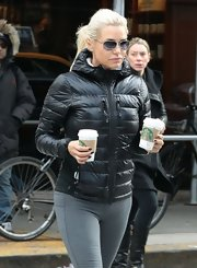 Yolanda Foster stepped out for some coffee sporting a totally casual and athletic puffer jacket.