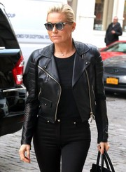Yolanda Hadid accessorized with ultra-modern round shades while out and about in New York City.