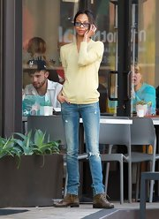 Zoe Saldana played up her slender build in a pair of ripped up skinny jeans.