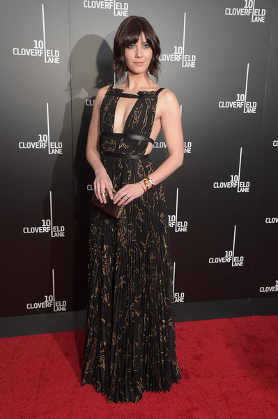 Mary Elizabeth Winstead was bondage-chic at the New York premiere of '10 Cloverfield Lane' in a Valentino print dress with a strappy cutout bodice.
