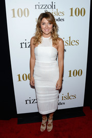 Sasha Alexander was white-hot in a form-fitting mesh dress at the 'Rizzoli and Isles' 100 episode celebration.