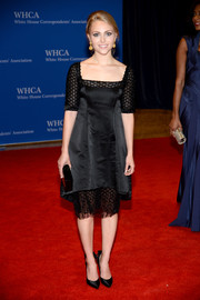 AnnaSophia Robb charmed in a sheer-panel LBD by Pamella Roland during the White House Correspondents' Association Dinner.