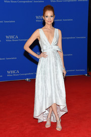 A pair of bedazzled T-strap sandals by Rene Caovilla added an extra dose of glamour to Darby Stanchfield's look.