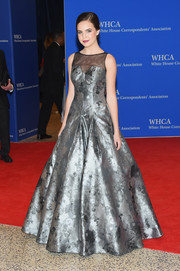 Bailee Madison looked quite the princess in a sheer-panel silver floral ballgown by Rachel Allan Couture during the White House Correspondents' Association Dinner.