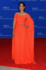 Tracee Ellis Ross looked very queenly in a caped red gown by Honor at the White House Correspondents' Association Dinner.