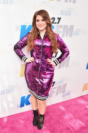 Meghan Trainor toughened up her look with a pair of black combat boots.