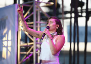 Miley Cyrus performed at the 2017 Wango Tango in a skimpy white cami, revealing a large animal tooth tattoo on her right bicep.
