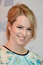 Bridgit Mendler chose a pale pink lip color to keep her beauty look radiant and soft.