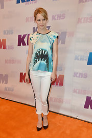 Bridgit Mendler chose a funky shark-print blouse for her look at the Wango Tango.