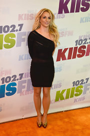 Britney Spears rocked a one-shoulder fitted sheer black dress at Wango Tango.