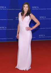 Hope Solo went for simple elegance in a pale-pink V-neck gown by Badgley Mischka at the White House Correspondents' Association Dinner.