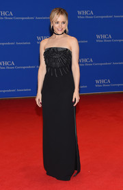 Rachel McAdams oozed edgy glamour in a strapless black column dress with an embellished bodice at the White House Correspondents' Association Dinner.