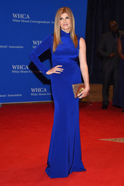 Connie Britton chose a sleek, ultra-modern one-sleeve gown in a dazzling royal-blue hue for her White House Correspondents' Association Dinner look.
