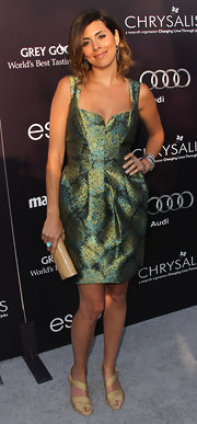 Jamie-Lynn Sigler looks retro-fab in an iridescent green and gold cocktail dress for the Chrysalis Butterfly Ball.