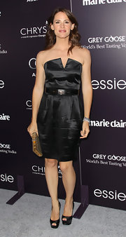 Jennifer Garner teamed her elegant black satin dress with matching peep-toe platforms at the Chrysalis Butterfly Ball.