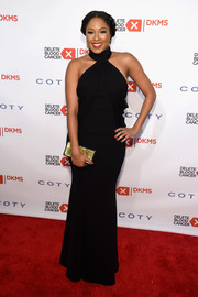Alicia Quarles arrived for the Delete Blood Cancer Gala looking elegant in a black halter gown.
