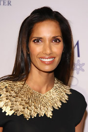 Padma Lakshmi wore a delicious golden caramel lipstick with lots of shine at the 10th Annual GEM Awards.