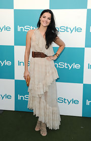 Jaimie Alexander paired her tiered frock with a jeweled cuff bracelet.