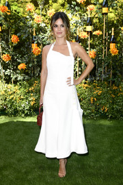 Rachel Bilson was summer-chic in a white Jacquemus halter dress with an asymmetrical neckline at the 2019 Veuve Clicquot Polo Classic Los Angeles.