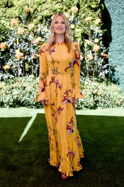 Ali Larter went boho in a yellow print maxi dress by La DoubleJ at the 2019 Veuve Clicquot Polo Classic Los Angeles.