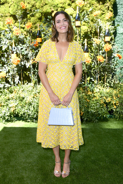 Mandy Moore looked darling in a yellow floral-embroidered midi dress by Lela Rose at the 2019 Veuve Clicquot Polo Classic Los Angeles.