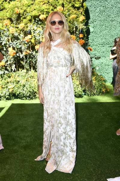 Rachel Zoe paired a white and gold halter gown with a fringed shawl for the 2019 Veuve Clicquot Polo Classic Los Angeles.