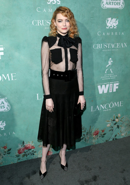 Emma Stone tied her look together with a pair of dual-textured pumps by Louis Vuitton.