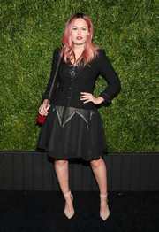 Atlanta de Cadenet layered a fitted black jacket over a cocktail dress for the Chanel Tribeca Film Festival Artists Dinner.