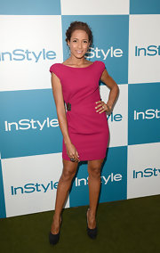 Dania Ramirez looked like she was ready for a night on the town in her backless fuchsia cocktail dress. Stacked pumps and some choice jewelry were all she needed to complement this mini.