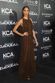 Joan Smalls looked divine in a boho-chic beaded brown dress during the Keep a Child Alive Black Ball.
