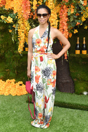 Susan Kelechi Watson was all abloom in a floral halter jumpsuit at the 2018 Veuve Clicquot Polo Classic.