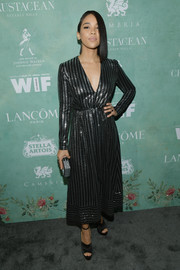 Alexandra Shipp completed her outfit with a pair of black platforms.