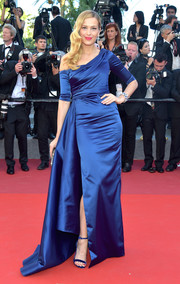 Petra Nemcova looked downright regal in a blue off-one-shoulder gown by Cristina Ottaviano at the Cannes Film Festival screening of '120 Beats Per Minute.'