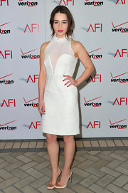 Emilia Clarke was white hot at the AFI Awards. She accessorized the frock with satin slingbacks.