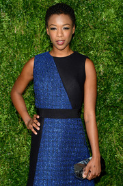 Samira Wiley attended the CFDA/Vogue Fashion Fund Awards carrying a futuristic hard-case clutch by Rafe New York.