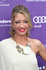 Rebecca Gayheart chose a high ponytail to pull back her blonde tresses.