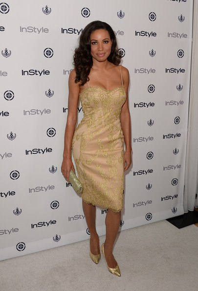 Jurnee showed off her fit figure with this slip dress with gold lace embellishments.
