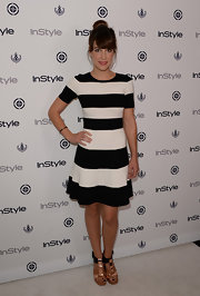 Lindsay had us seeing stripes whens she wore this bold black-and-white striped dress.