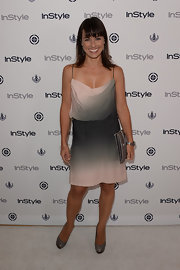 Constance chose a gray-and-blush pink ombre draped dress for her look at InStyle's Summer Soiree.