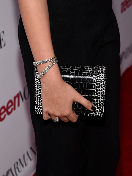 More Pics of Kaia Gerber Link Bracelet (1 of 7) - Bracelets Lookbook - StyleBistro [finger,arm,fashion accessory,fashion,hand,chain,jewellery,joint,dress,nail,emporio armani,kaia gerber,fashion detail,beverly hills,california,young hollywood party]