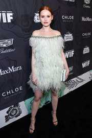 Madelaine Petsch was '20s-glam in a feathered off-the-shoulder dress by Georges Hobeika Couture at the Women in Film Oscar nominees party.
