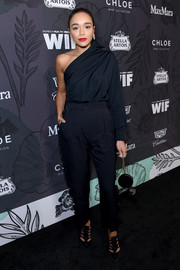 Black slacks with ruffled sides finished off Ashley Madekwe's outfit.