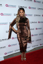 Laverne Cox shimmered so elegantly in a fitted bronze dress by Victoria Hayes at the Outfest Legacy Awards.