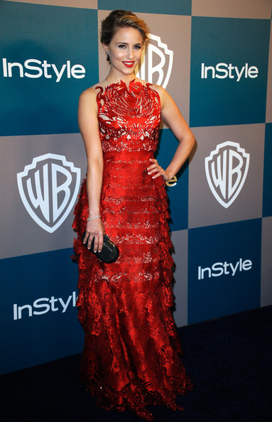 Dianna Agron added contrast to her intricate laser cut gown with a black box clutch at the InStyle Golden Globes after party.