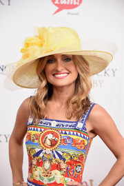 Giada De Laurentiis looked vibrant wearing this decorative hat and print dress combo at the Kentucky Derby.