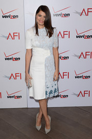 Melonie Diaz was modern yet feminine in a blue and white lace-panel dress by Honor during the AFI Awards.