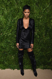 Teyana Taylor struck the perfect balance between edgy and sexy with this low-cut velvet LBD by Baja East at the CFDA/Vogue Fashion Fund Awards.