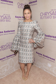 Paula Patton turned heads at the Chrysalis Butterfly Ball with her Thomas Wylde dress that featured an eye-catching print and exaggerated bell sleeves.