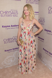 Rebecca Gayheart was summer-glam in a colorful print gown during the Chrysalis Butterfly Ball.
