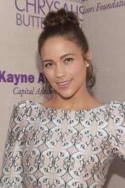 Paula Patton swept her hair up into a messy-chic top knot for the Chrysalis Butterfly Ball.